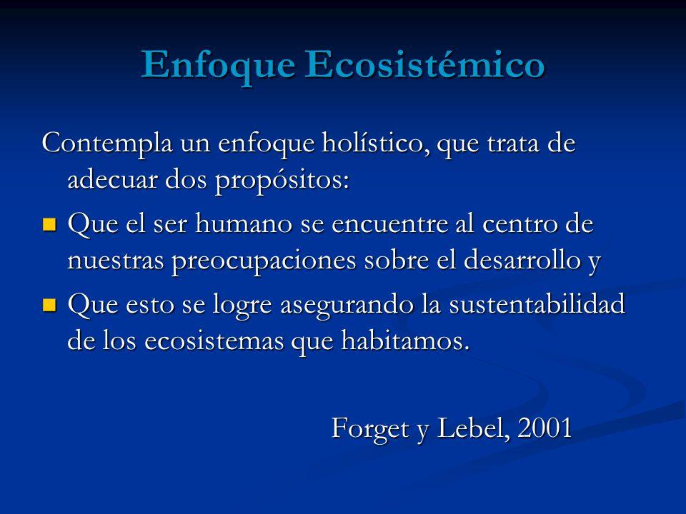 Enfoque Ecosistémico Contempla un enfoque holístico, que trata de adecuar dos propósitos: