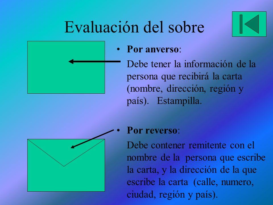Evaluación del sobre Por anverso: