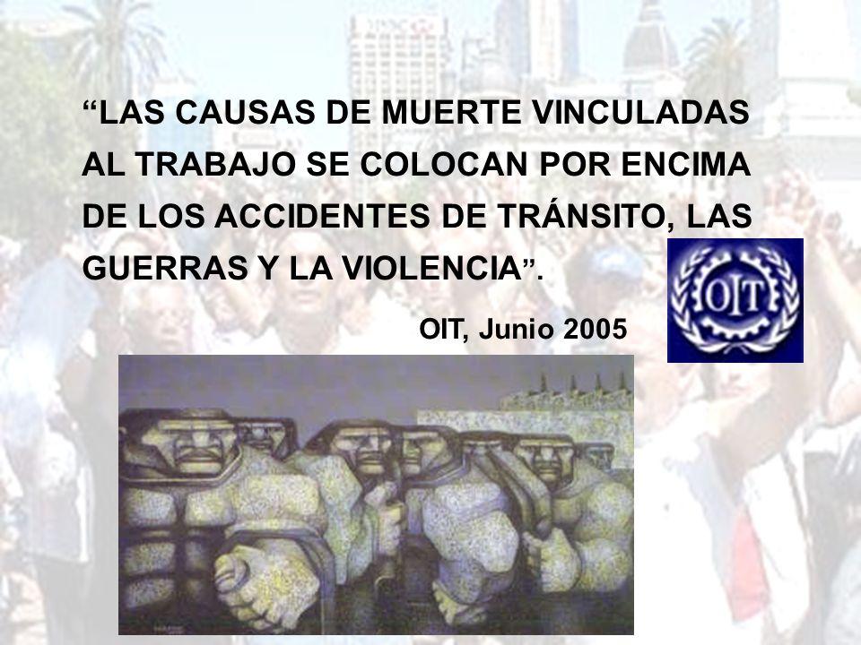 LAS CAUSAS DE MUERTE VINCULADAS AL TRABAJO SE COLOCAN POR ENCIMA DE LOS ACCIDENTES DE TRÁNSITO, LAS GUERRAS Y LA VIOLENCIA .