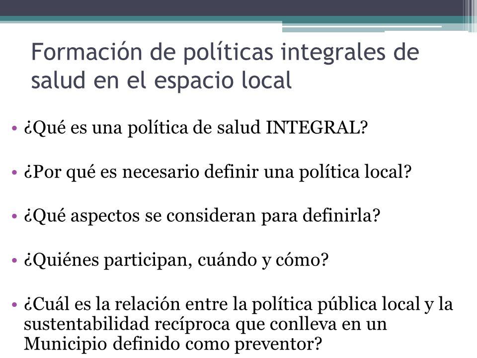 Formación de políticas integrales de salud en el espacio local