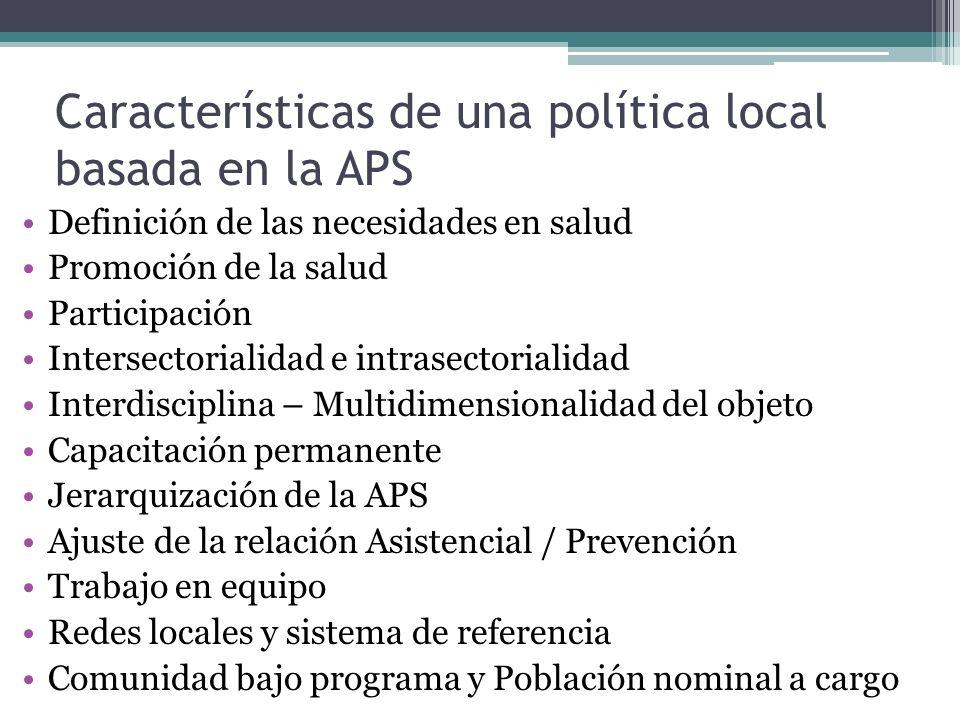 Características de una política local basada en la APS