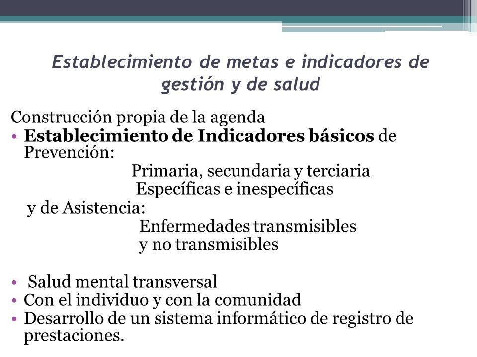 Establecimiento de metas e indicadores de gestión y de salud