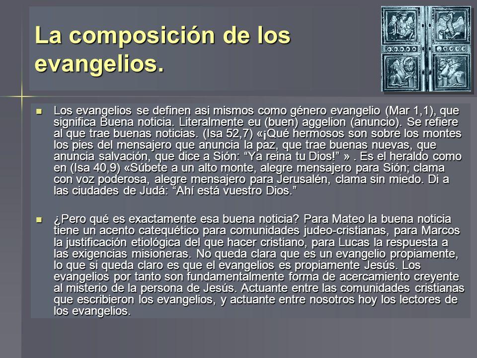 La composición de los evangelios.