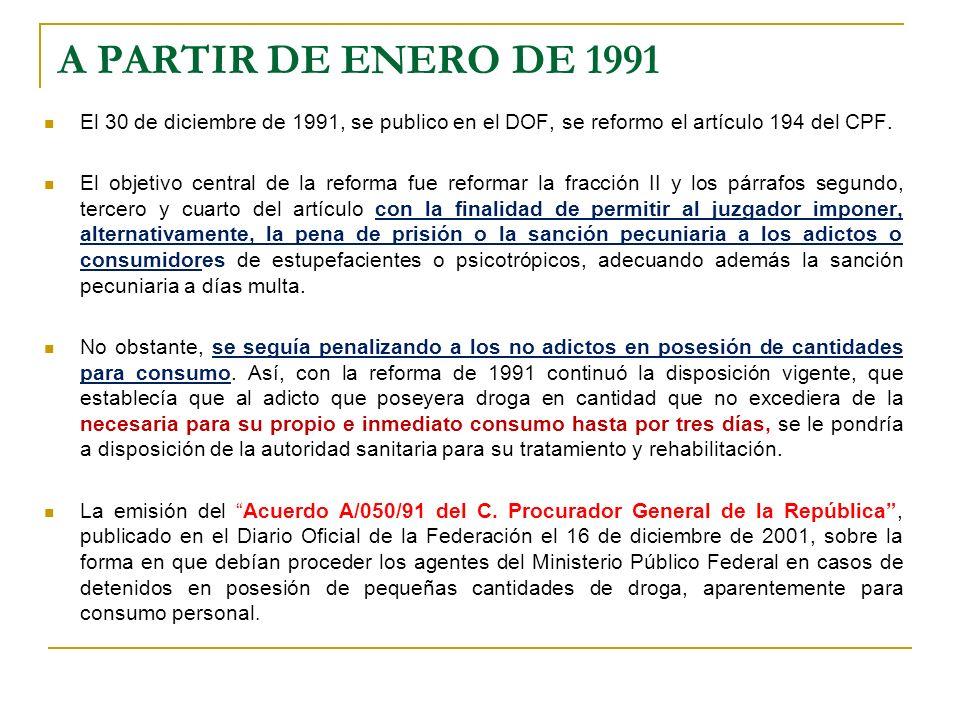 A PARTIR DE ENERO DE 1991El 30 de diciembre de 1991, se publico en el DOF, se reformo el artículo 194 del CPF.