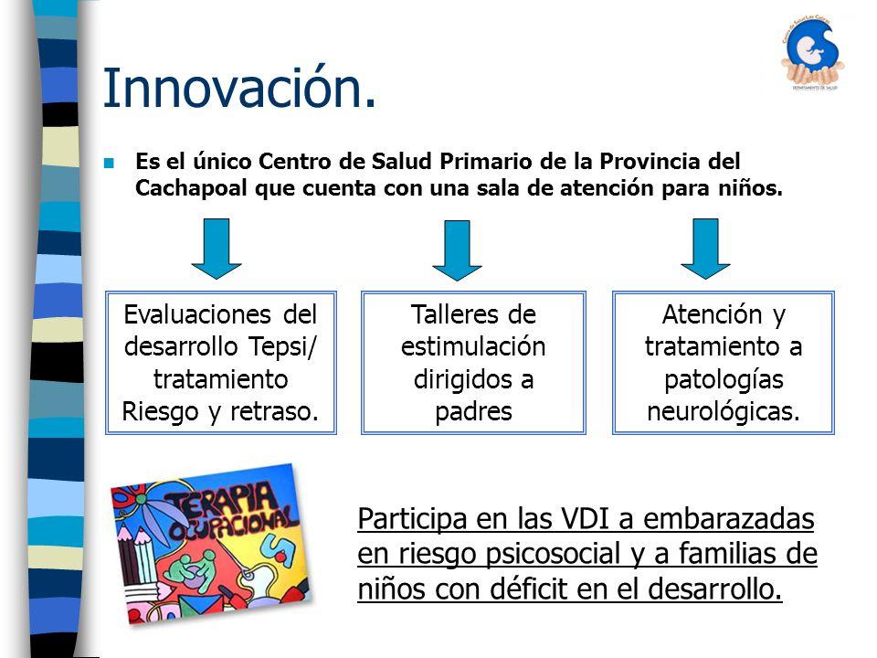 Innovación. Es el único Centro de Salud Primario de la Provincia del Cachapoal que cuenta con una sala de atención para niños.