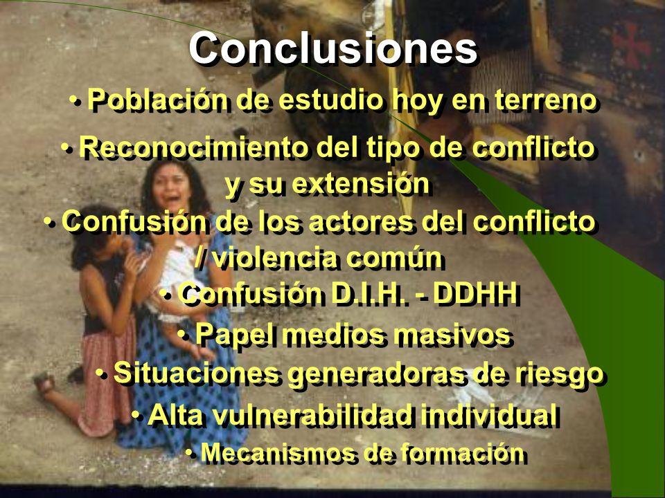 Conclusiones Población de estudio hoy en terreno