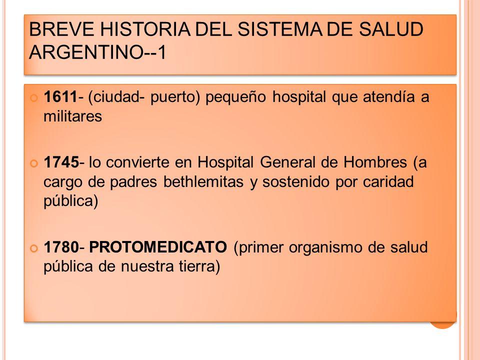 BREVE HISTORIA DEL SISTEMA DE SALUD ARGENTINO--1