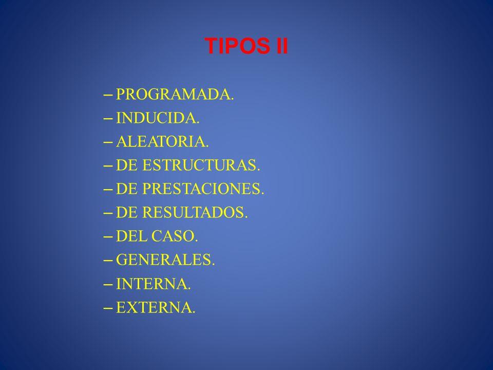 TIPOS II PROGRAMADA. INDUCIDA. ALEATORIA. DE ESTRUCTURAS.