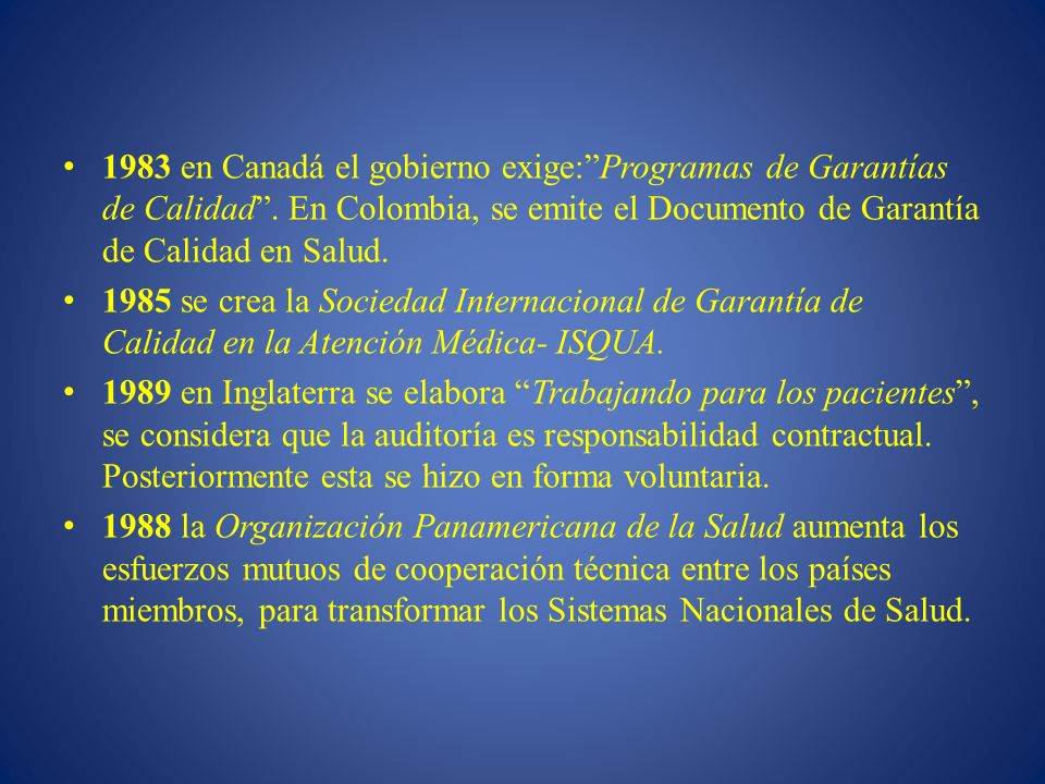 1983 en Canadá el gobierno exige: Programas de Garantías de Calidad