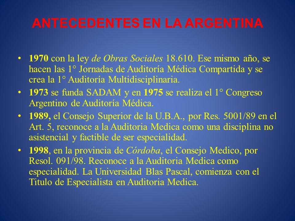 ANTECEDENTES EN LA ARGENTINA