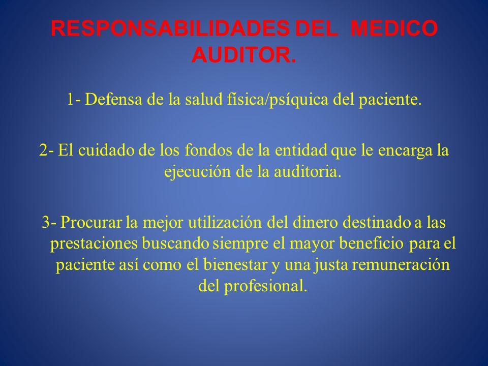 RESPONSABILIDADES DEL MEDICO AUDITOR.