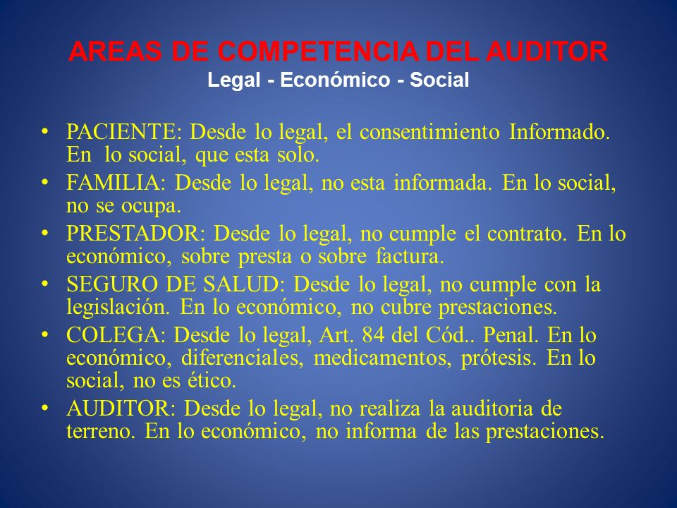 AREAS DE COMPETENCIA DEL AUDITOR Legal - Económico - Social