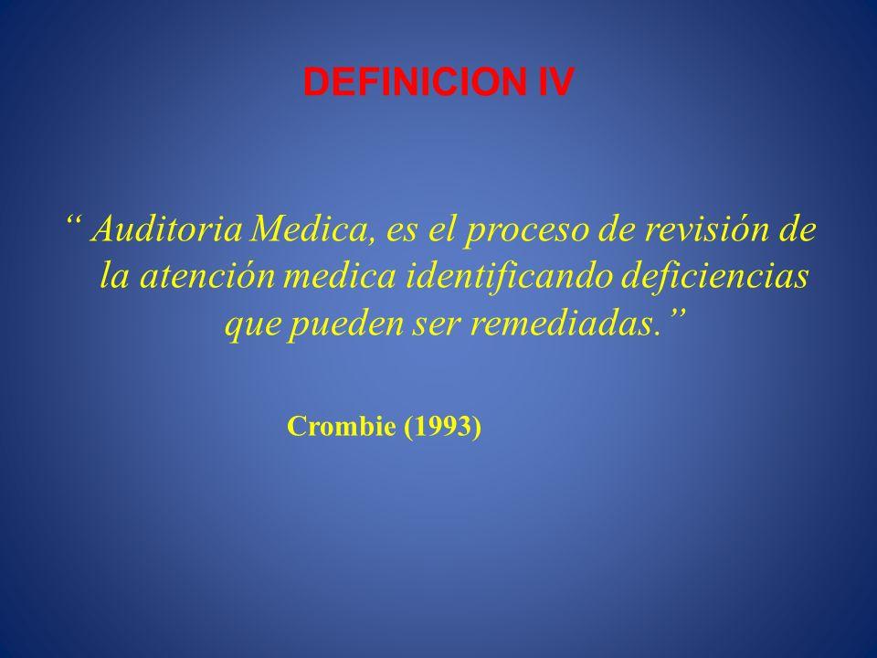 DEFINICION IV Auditoria Medica, es el proceso de revisión de la atención medica identificando deficiencias que pueden ser remediadas.
