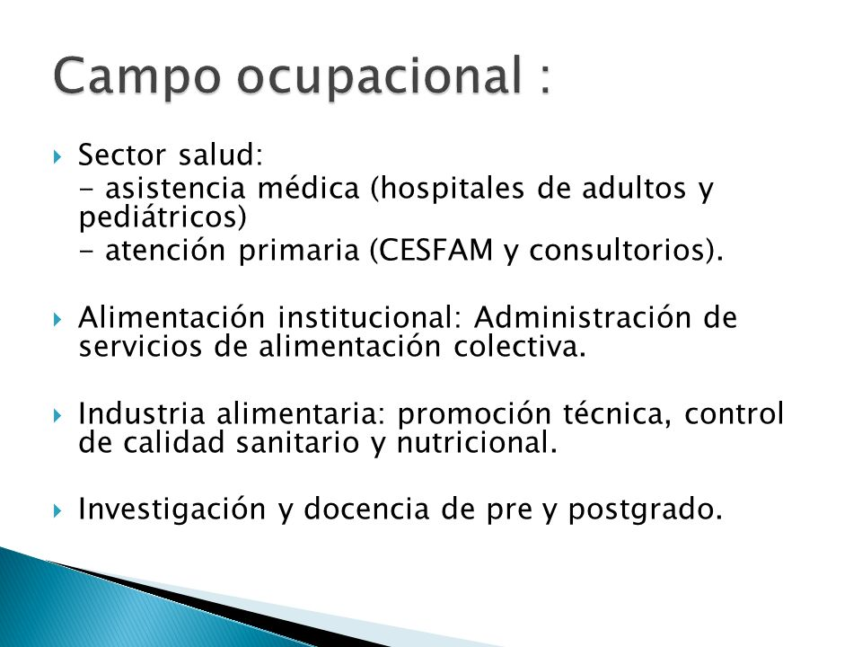 Campo ocupacional : Sector salud:
