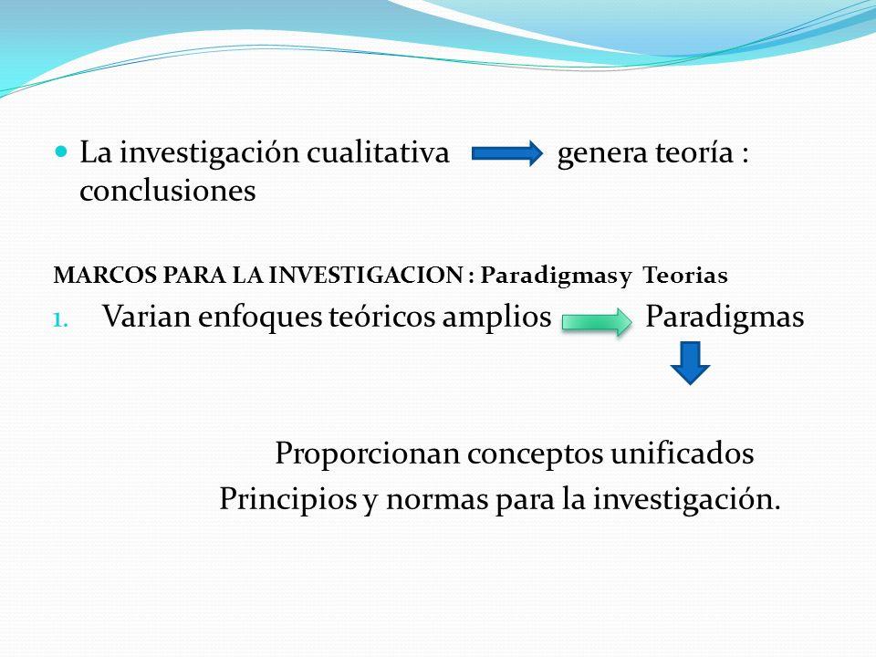 La investigación cualitativa genera teoría : conclusiones