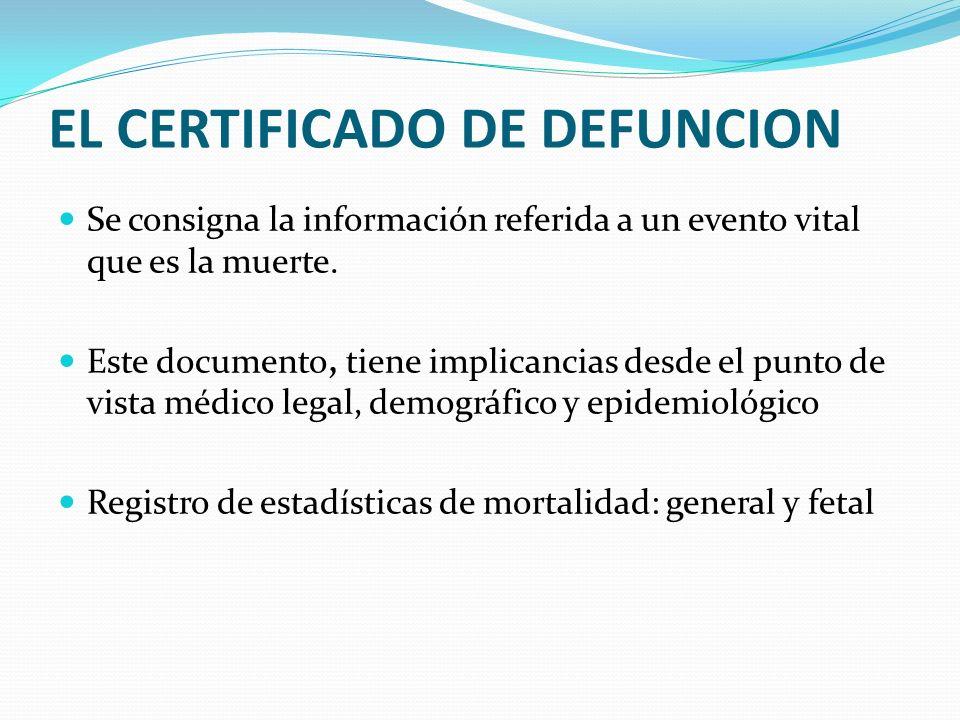 EL CERTIFICADO DE DEFUNCION