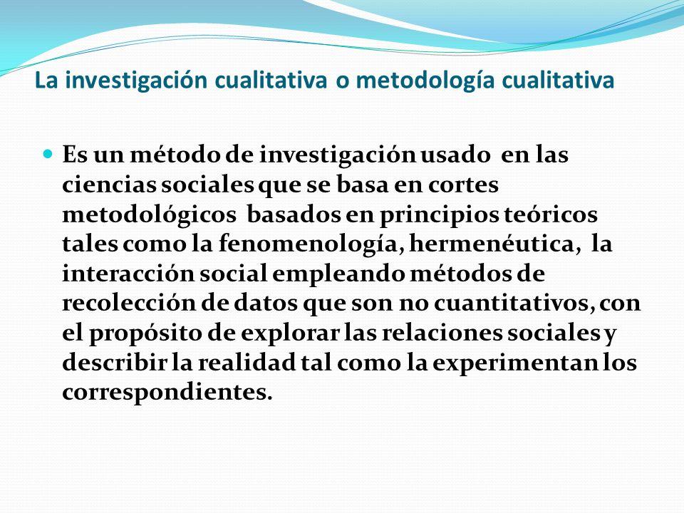 La investigación cualitativa o metodología cualitativa