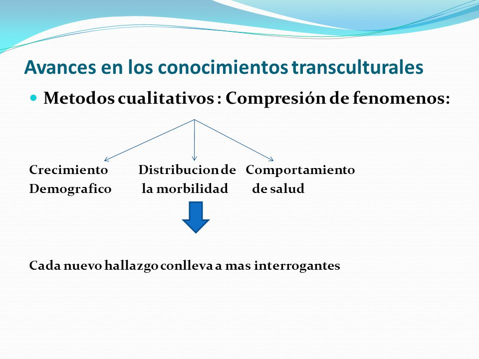Avances en los conocimientos transculturales