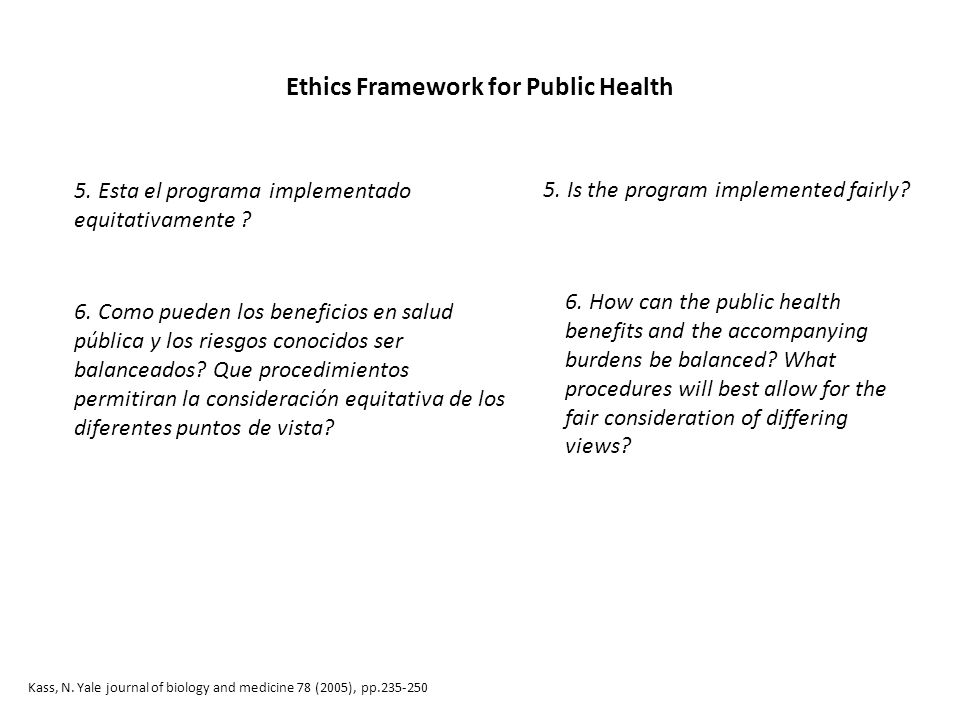 Ethics Framework for Public Health