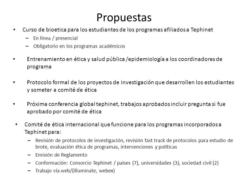 Propuestas Curso de bioetica para los estudiantes de los programas afiliados a Tephinet. En línea / presencial.