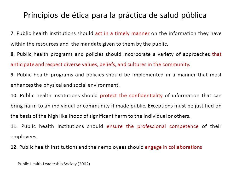 Principios de ética para la práctica de salud pública