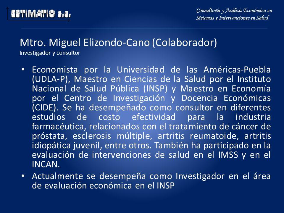 Mtro. Miguel Elizondo-Cano (Colaborador) Investigador y consultor