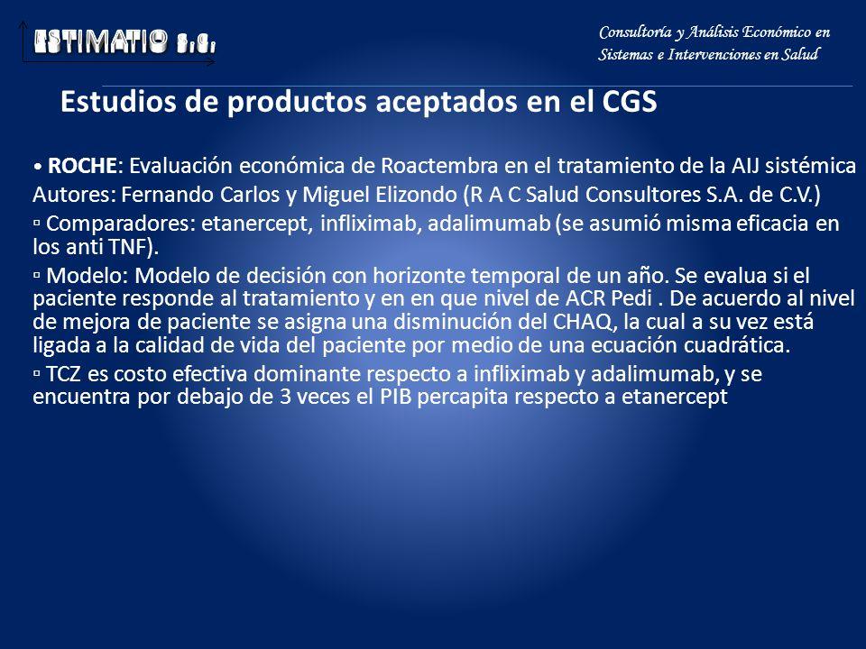 Estudios de productos aceptados en el CGS