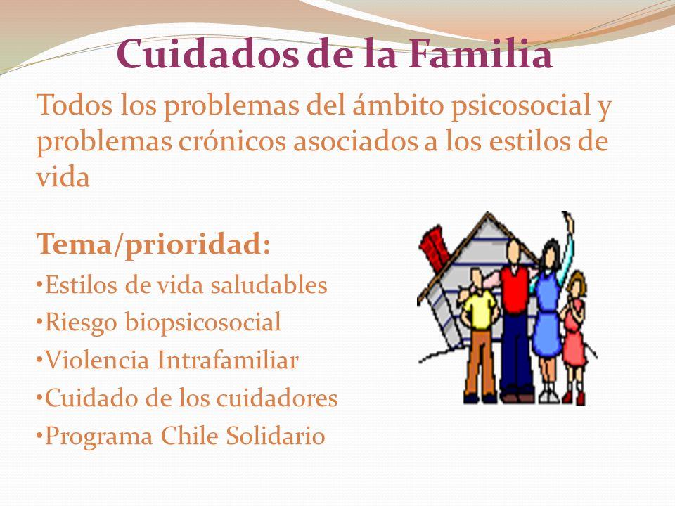 Cuidados de la Familia Todos los problemas del ámbito psicosocial y problemas crónicos asociados a los estilos de vida.