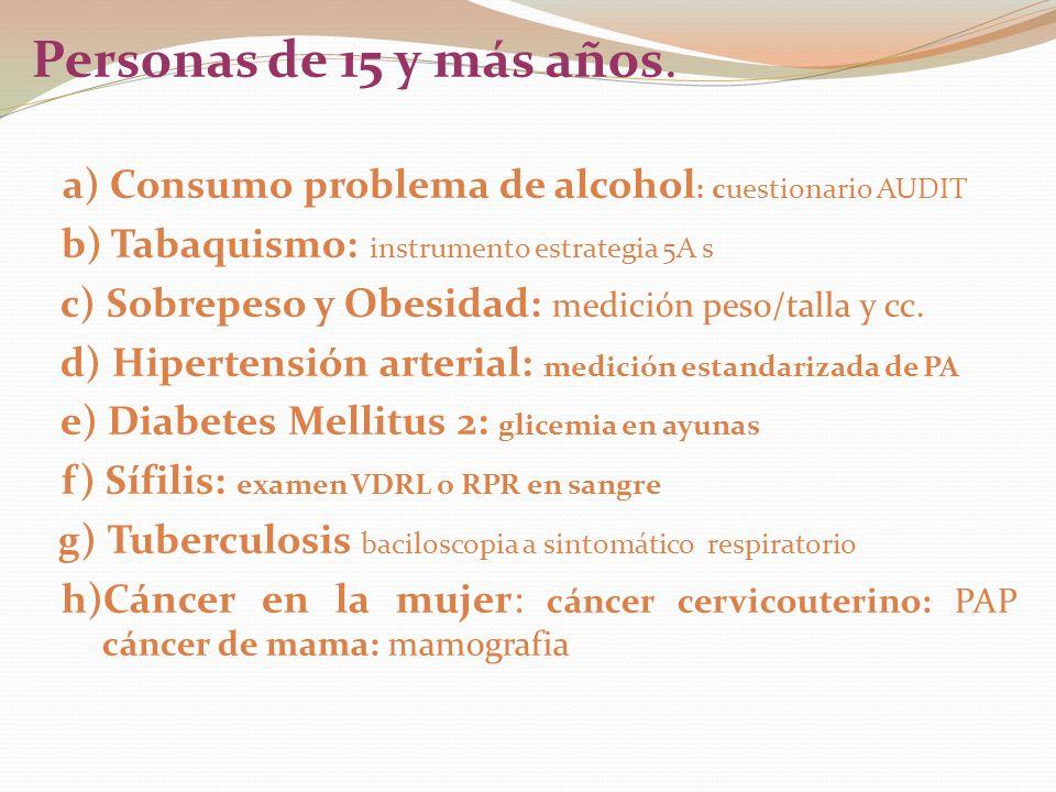 Personas de 15 y más años. a) Consumo problema de alcohol: cuestionario AUDIT. b) Tabaquismo: instrumento estrategia 5A s.