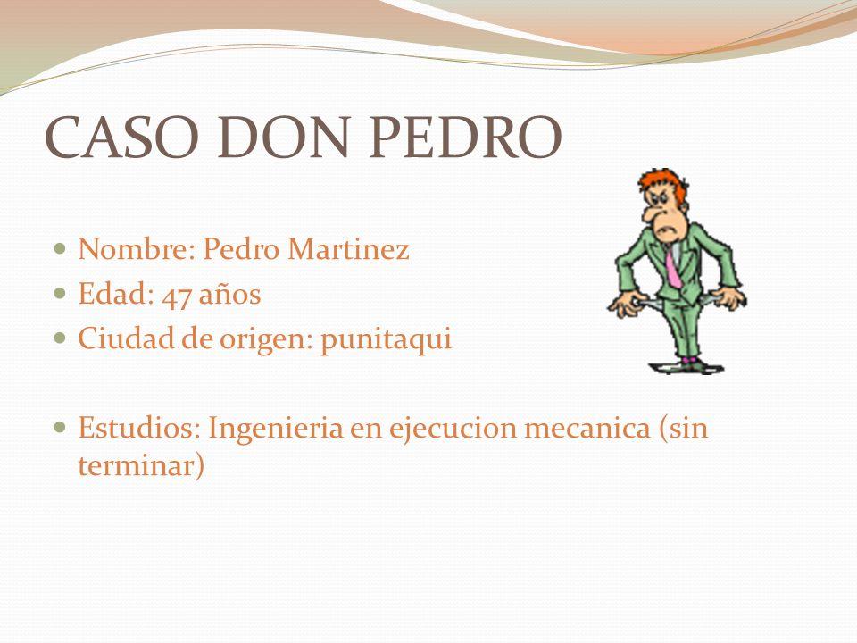 CASO DON PEDRO Nombre: Pedro Martinez Edad: 47 años