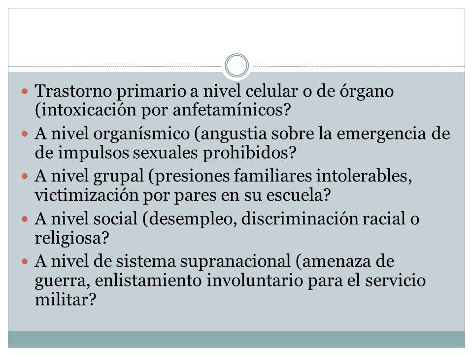 Trastorno primario a nivel celular o de órgano (intoxicación por anfetamínicos