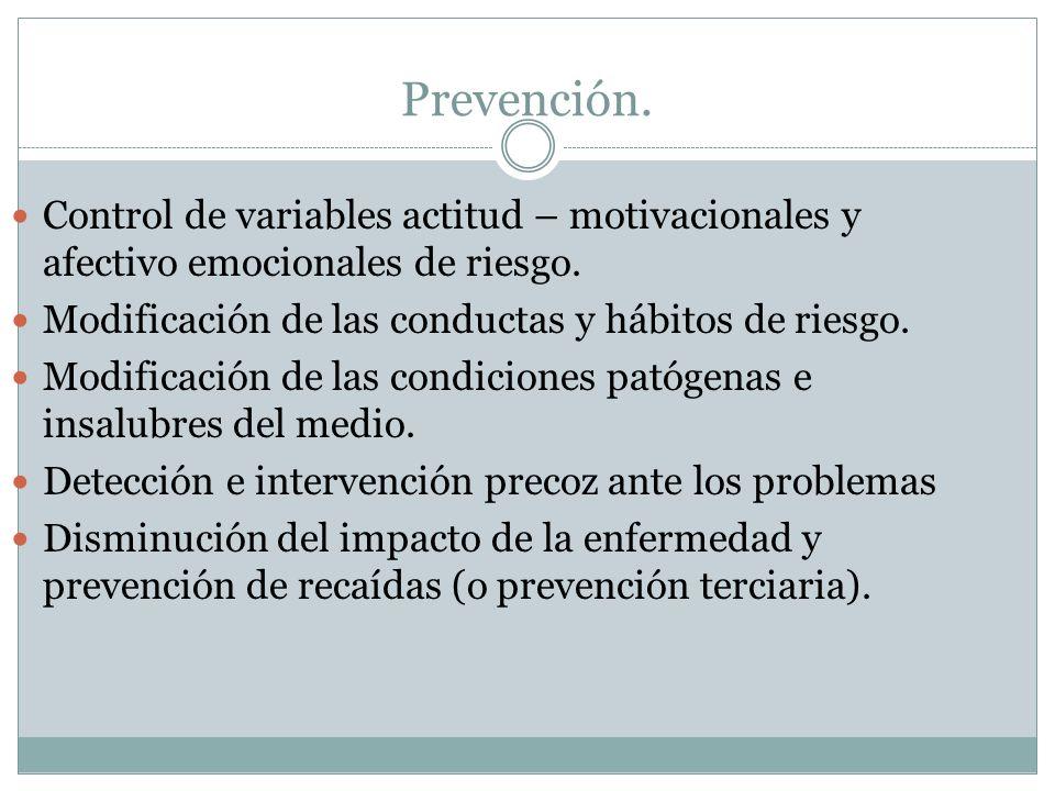 Prevención. Control de variables actitud – motivacionales y afectivo emocionales de riesgo. Modificación de las conductas y hábitos de riesgo.