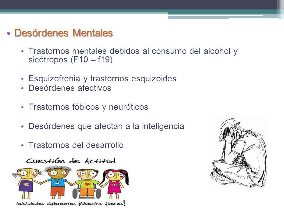 Desórdenes Mentales Trastornos mentales debidos al consumo del alcohol y sicótropos (F10 – f19) Esquizofrenia y trastornos esquizoides.