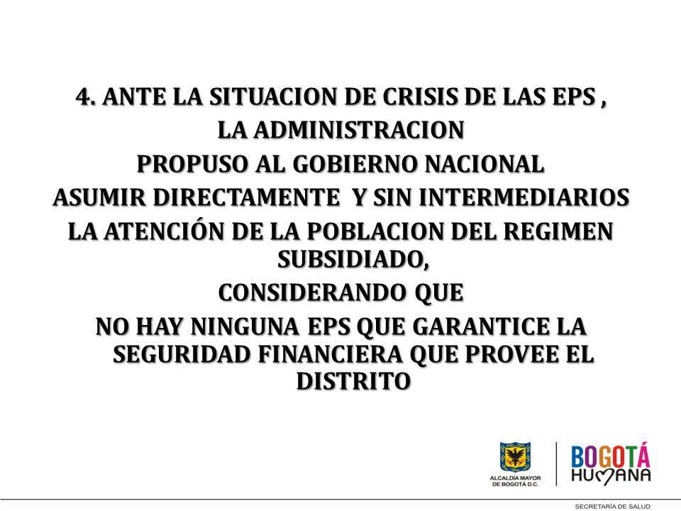 4. ANTE LA SITUACION DE CRISIS DE LAS EPS , LA ADMINISTRACION