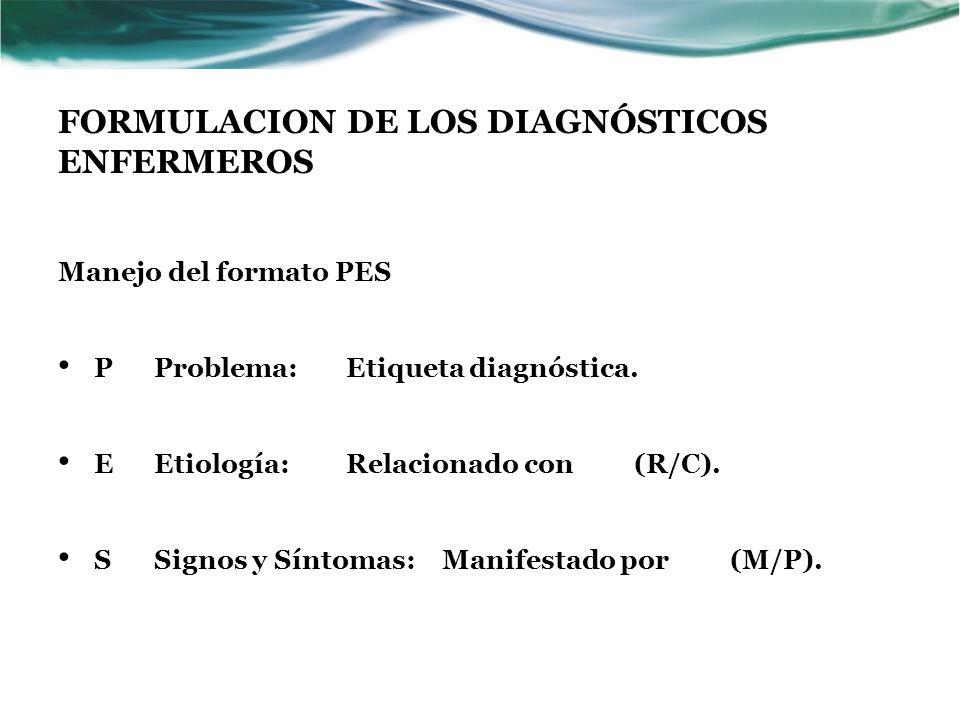 FORMULACION DE LOS DIAGNÓSTICOS ENFERMEROS