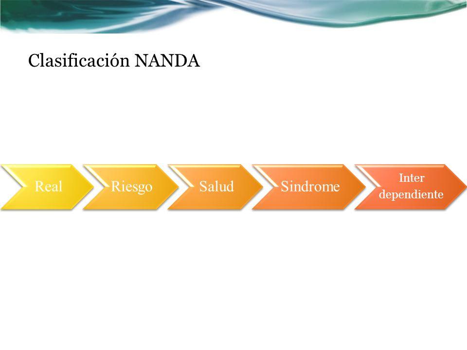 Clasificación NANDA Real Riesgo Salud Sindrome Inter dependiente