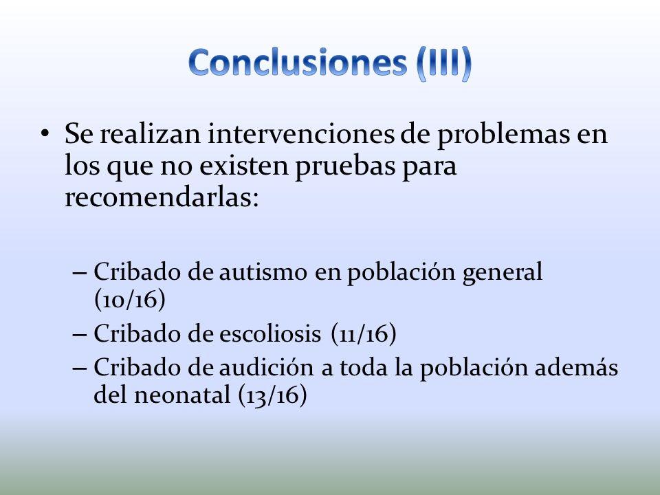 Conclusiones (III) Se realizan intervenciones de problemas en los que no existen pruebas para recomendarlas: