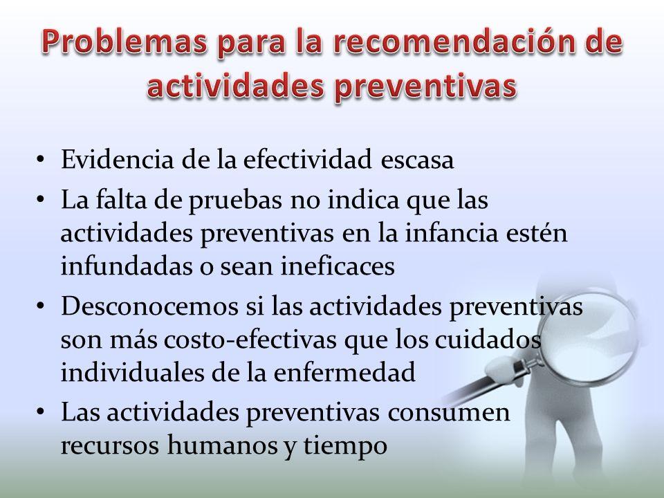 Problemas para la recomendación de actividades preventivas