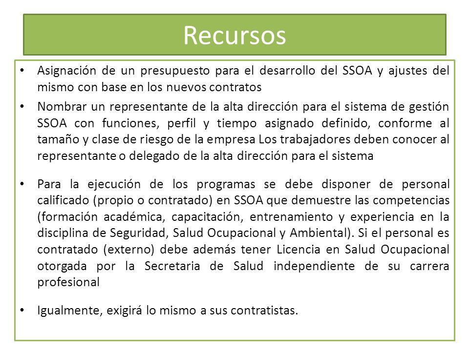 Recursos Asignación de un presupuesto para el desarrollo del SSOA y ajustes del mismo con base en los nuevos contratos.