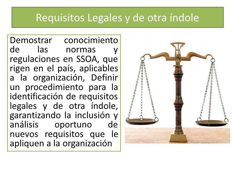 Requisitos Legales y de otra índole
