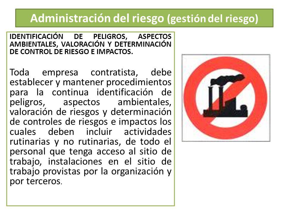 Administración del riesgo (gestión del riesgo)