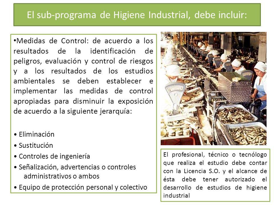El sub-programa de Higiene Industrial, debe incluir: