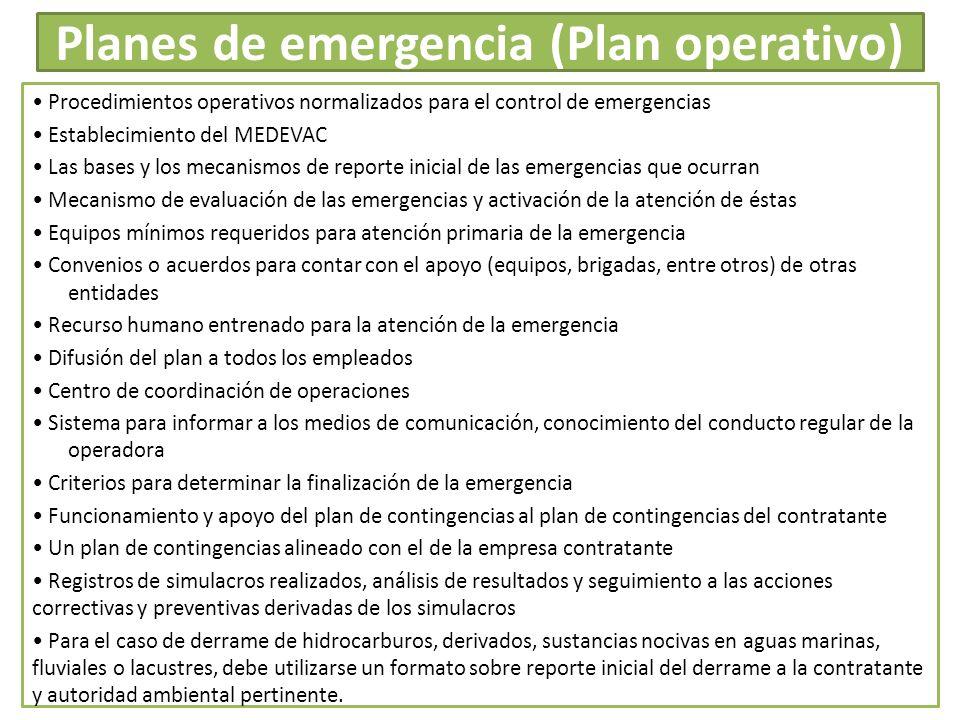 Planes de emergencia (Plan operativo)
