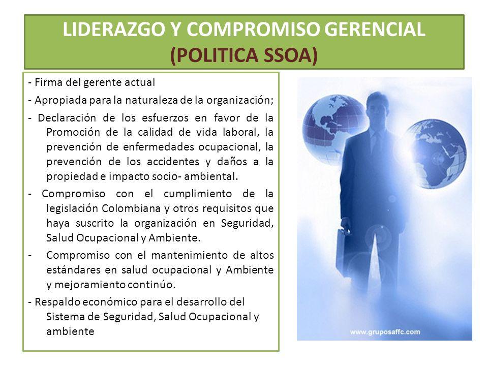 LIDERAZGO Y COMPROMISO GERENCIAL (POLITICA SSOA)
