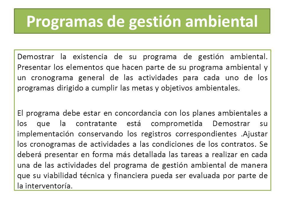 Programas de gestión ambiental