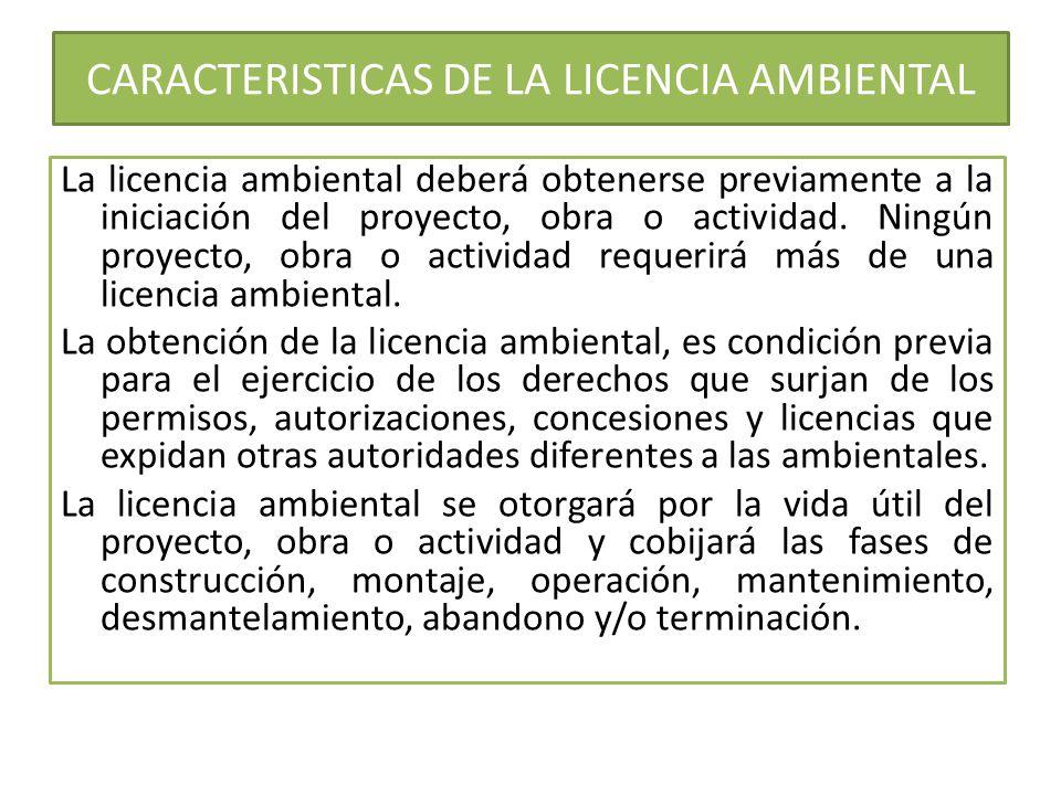 CARACTERISTICAS DE LA LICENCIA AMBIENTAL