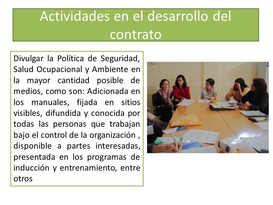 Actividades en el desarrollo del contrato