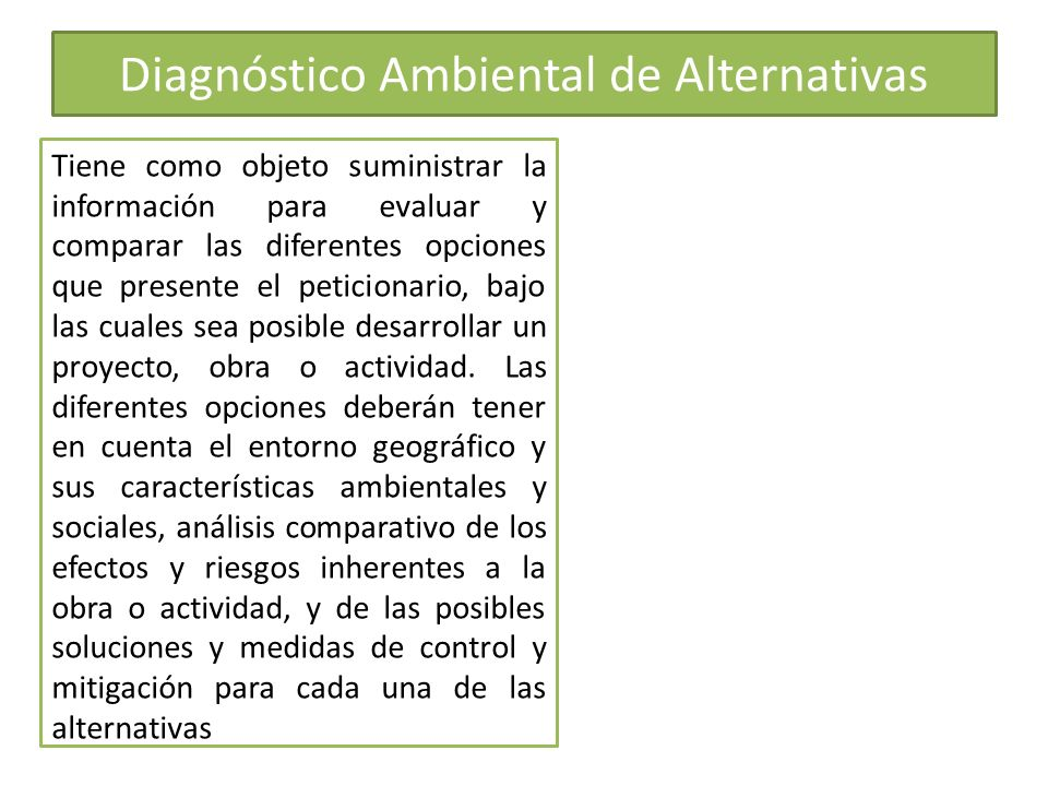 Diagnóstico Ambiental de Alternativas