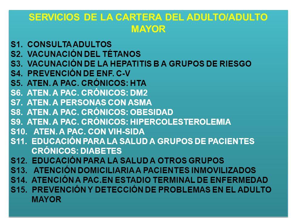 SERVICIOS DE LA CARTERA DEL ADULTO/ADULTO MAYOR