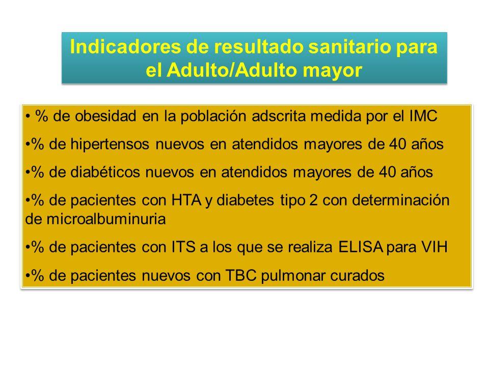 Indicadores de resultado sanitario para el Adulto/Adulto mayor
